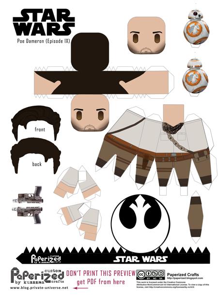 Paperized Star Wars paper toy - Poe Dameron (Episode IX) pattern preview