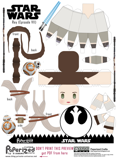 Paperized Star Wars paper toy - Rey & BB-8 (Episode VII) pattern preview