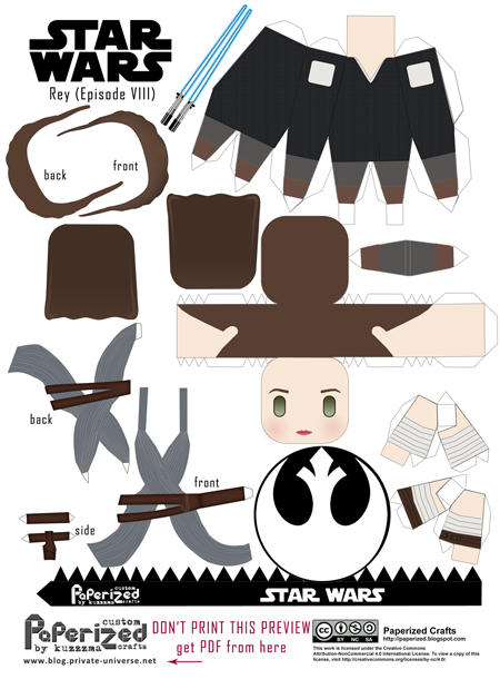 Paperized Star Wars paper toy - Rey (Episode VIII) pattern preview
