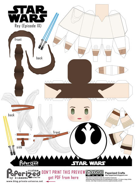 Paperized Star Wars paper toy - Rey (Episode IX) pattern preview