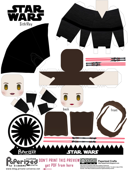 Paperized Star Wars paper toy - Sith Rey (Episode XI) pattern preview