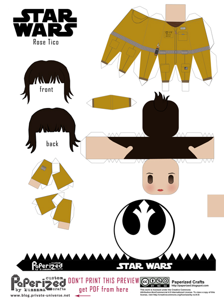 Paperized Star Wars paper toy - Rose Tico (Episode VIII) pattern preview
