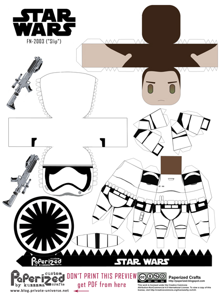 Paperized Star Wars paper toy - FN-2003 Slip Stormtrooper pattern preview