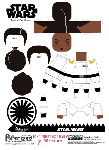 Paperized Star Wars paper toy - Rae Sloane pattern preview