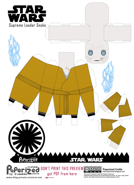 Paperized Star Wars paper toy - Supreme Leader Snoke (Episode VIII) pattern preview