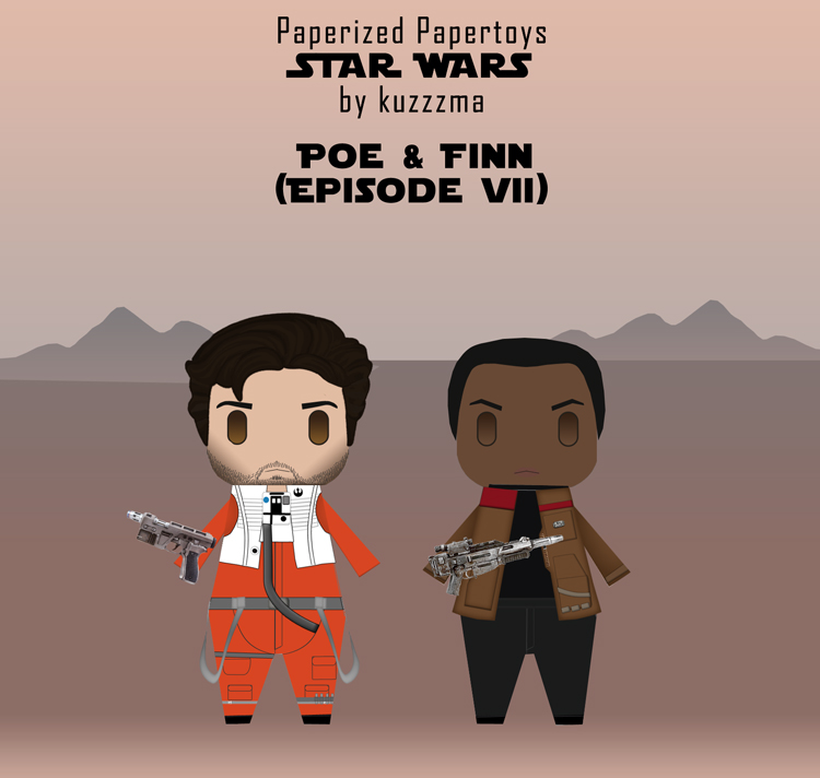Paperized Star Wars paper toy - Poe Dameron and Finn (Episode VII)