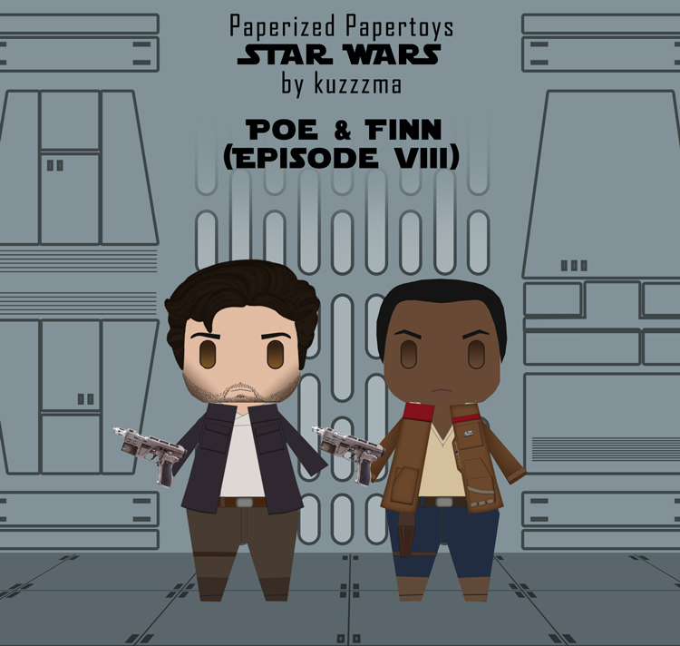 Paperized Star Wars paper toy - Poe Dameron and Finn (Episode VIII)
