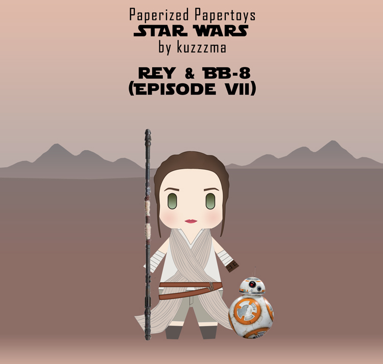Paperized Star Wars paper toy - Rey & BB-8 (Episode VII)