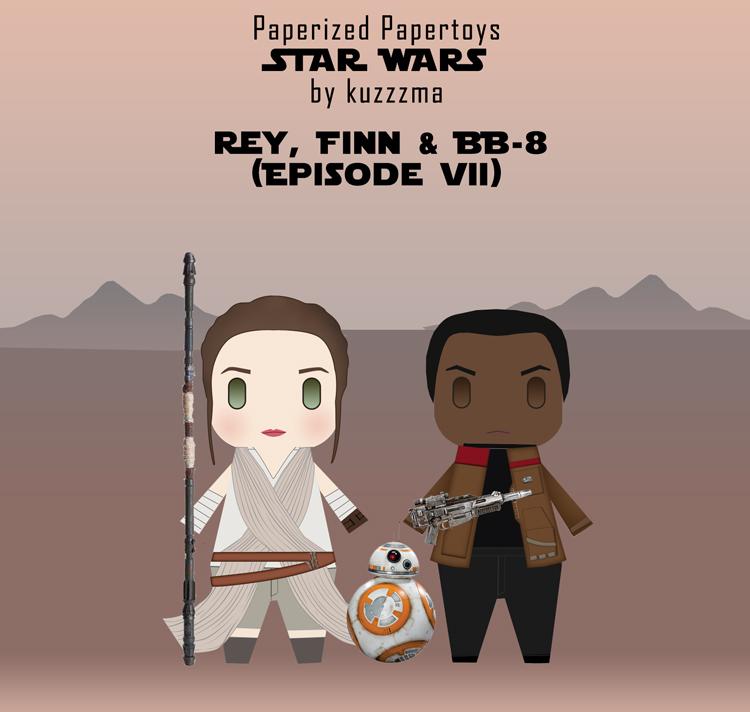 Paperized Star Wars paper toy - Rey, Finn & BB-8 (Episode VII)