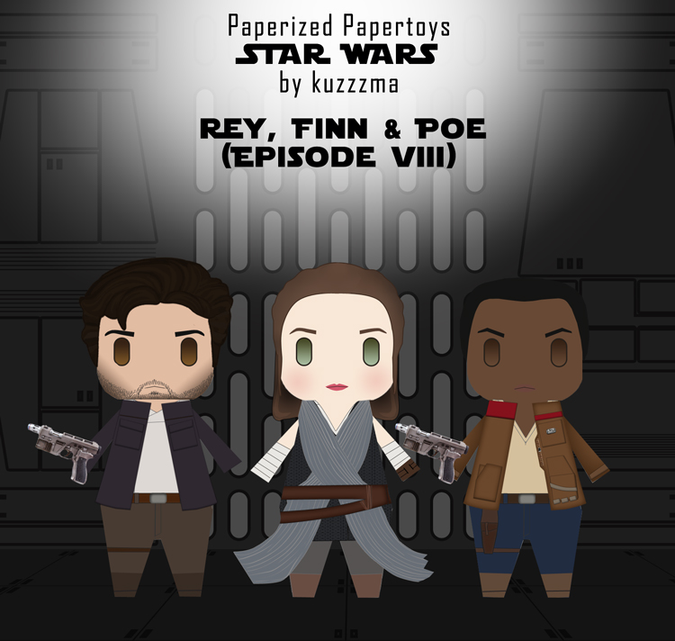 Paperized Star Wars paper toy - Rey, Finn and Poe Dameron (Episode VII)