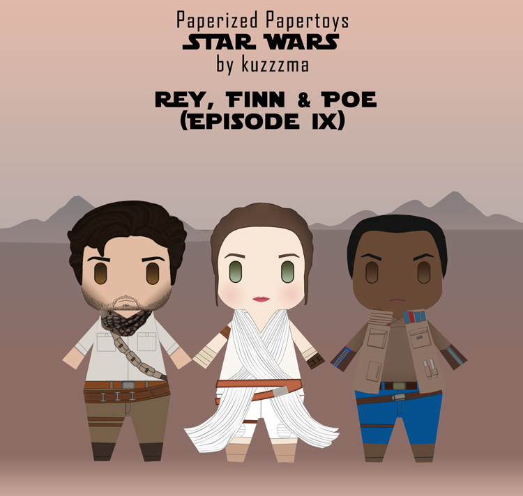 Paperized Star Wars paper toy - Rey, Finn and Poe Dameron (Episode IX)
