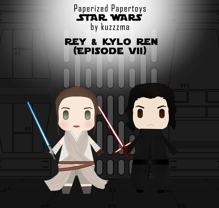 Paperized Star Wars paper toy - Rey & Kylo Ren (Episode VII)
