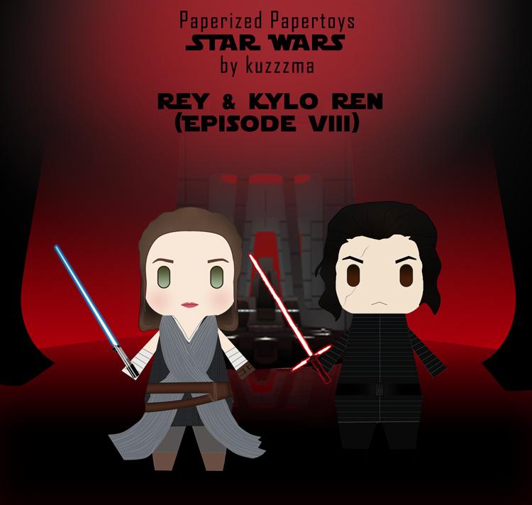 Paperized Star Wars paper toy - Rey & Kylo Ren (Episode VIII)