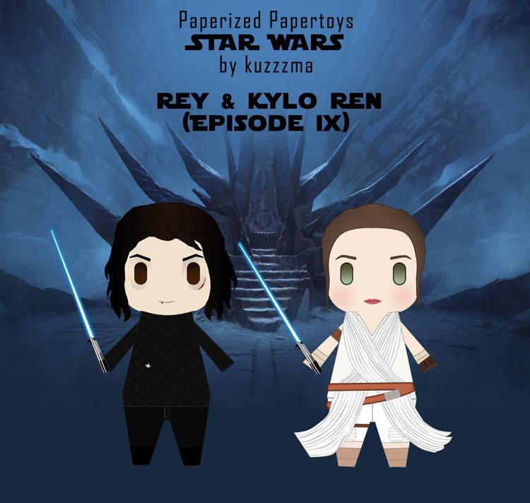 Paperized Star Wars paper toy - Rey & Kylo Ren (Episode IX)
