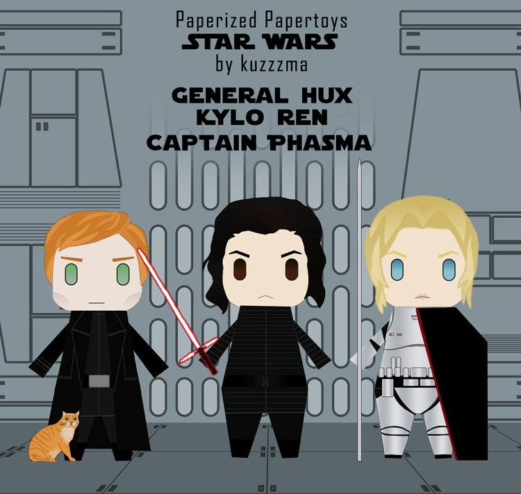 Star Wars papertoys: Armitage Hux, Kylo Ren, Captain Phasma