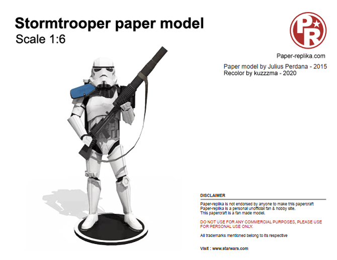 1/6 scale papercraft stormtrooper recolor preview