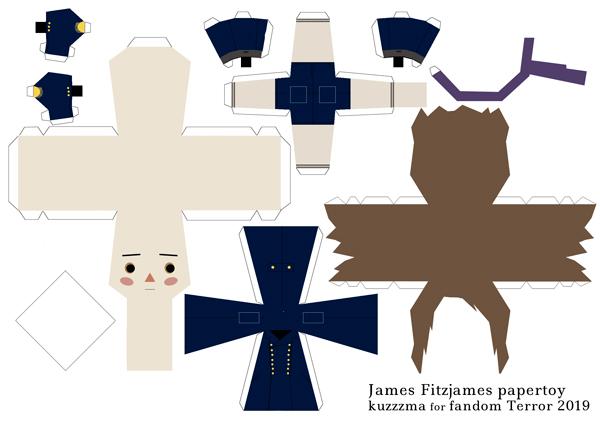 James Fitzjames in Greatcoat papertoy