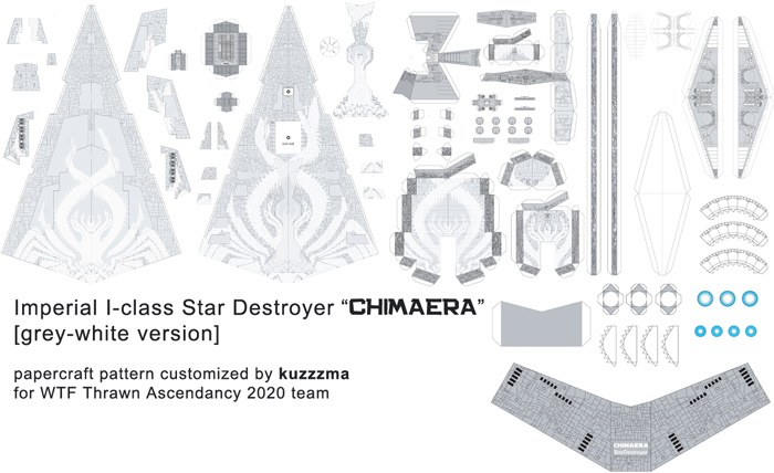 Imperial I-class Star Destroyer Chimaera papercraft preview